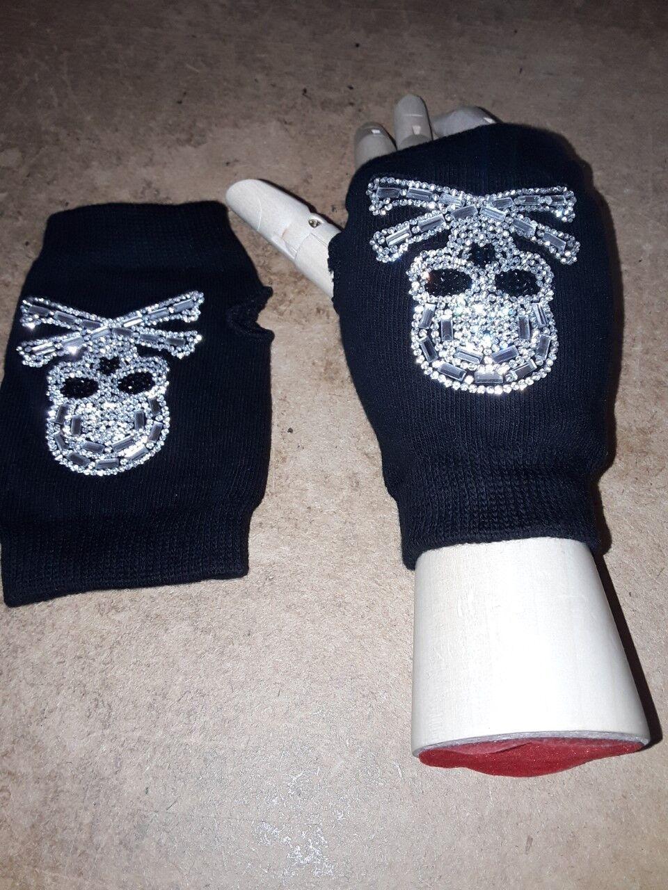 mitaines, noirs , ss doigts , extensible, coton,avec diamants cranes,os , 13cm