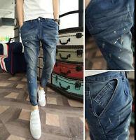 2016 New Fashion Jean Trousers Mens Denim Jeans Ninth Pants Slim Fit Harem Pants