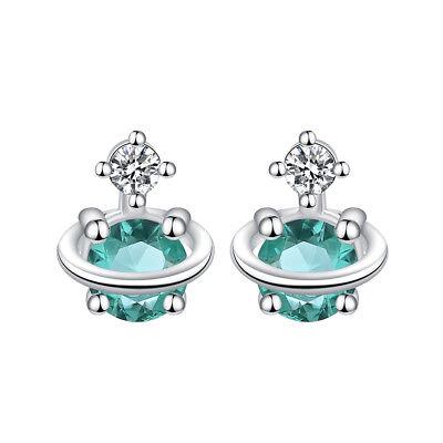 Korean Water Green Zirconia Planet Saturn Earrings Temperament Cosmic Jewelry Ebay