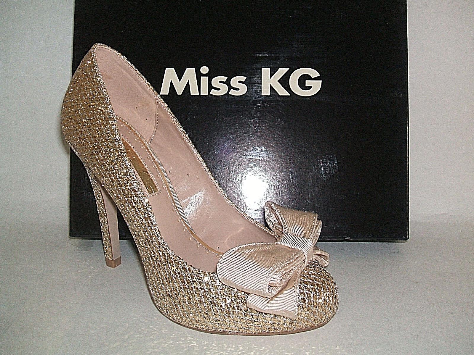 MISS KG SIZE 3 4 5 6 7 GEM GOLD GOLD GEM GLITTER BEIGE BOW OCCASION COURT Schuhe c47d68