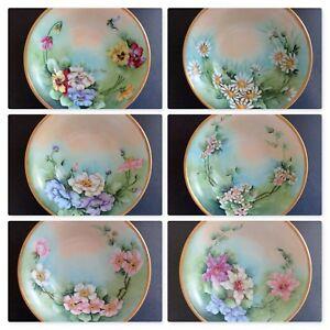 "c. 1910 Six T&V Limoges France Berry Fruit Bowls. 5-5/8"" w/ Gold Trim"