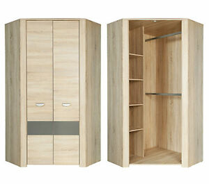 eckkleiderschrank yoop eckschrank kleiderschrank jugendzimmer sonoma eiche ebay. Black Bedroom Furniture Sets. Home Design Ideas