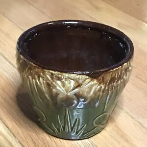 Vintage RRP Co Pottery Sun Moon Brown Green Drip Glaze Planter Jardiniere 6