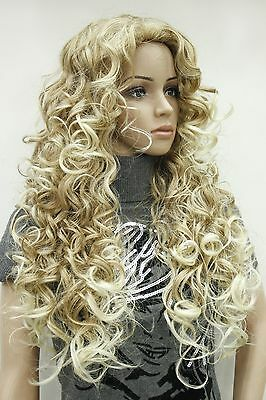2015 new hot fashion sexy charming blonde mix long curly woman's full thick wig