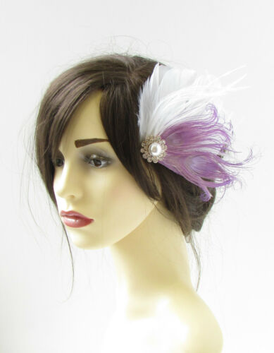 White Lilac Light Purple Silver Peacock Feather Fascinator Hair Clip 1920s 320