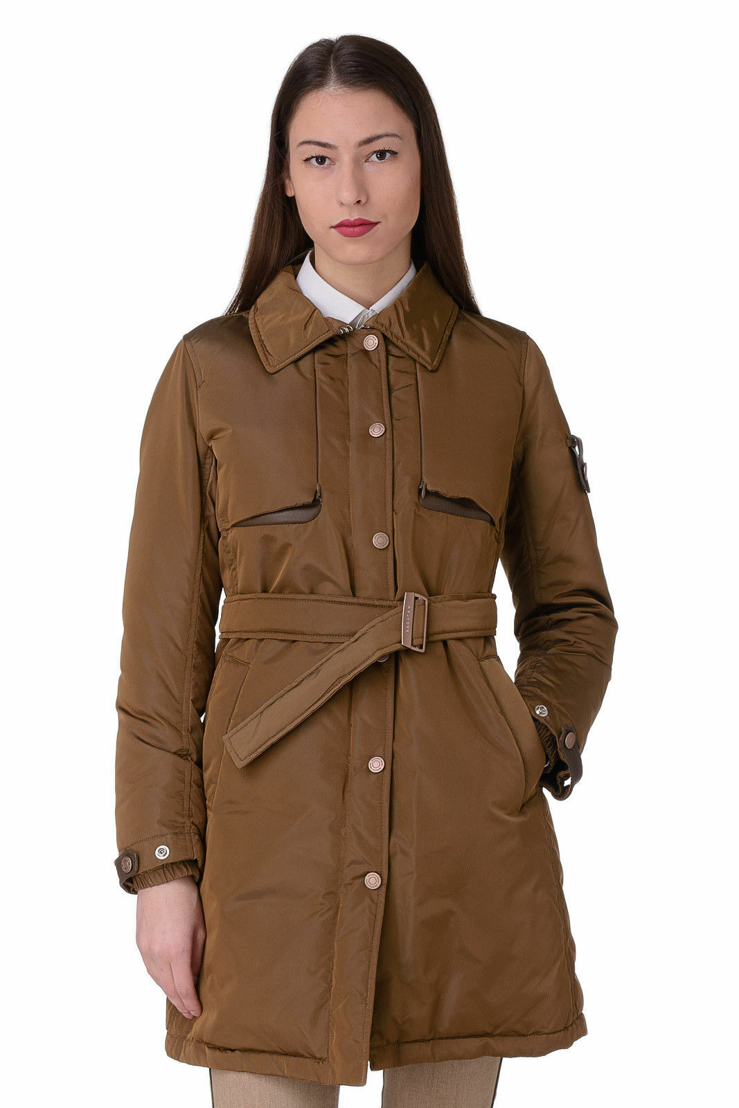 PIQUADRO Light Tech DOWN PROOF Padded Belted Travel Trench Coat Size 40, 2 XS