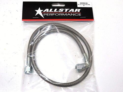 "Allstar Braided Stainless Steel Brake Line 24/"" 4 AN Straight to 4 AN 90 Degree"