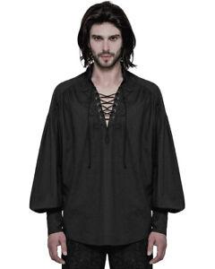 Punk-Rave-Para-Hombre-Steampunk-Pirata-Camisa-Top-Negro-Gotico-poeta-de-coleccion-medieval-con