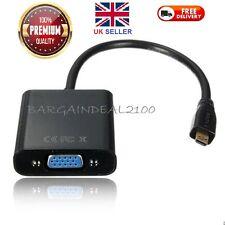 1080P Micro HDMI Male to VGA Female W/ Video Cable Converter Adapter PC HDTV UK