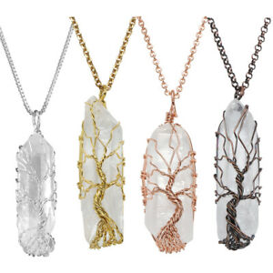 Natural-Tree-of-Life-Wire-Wrap-Rose-Crystal-Quartz-Pendant-Necklace-Healing-Gift