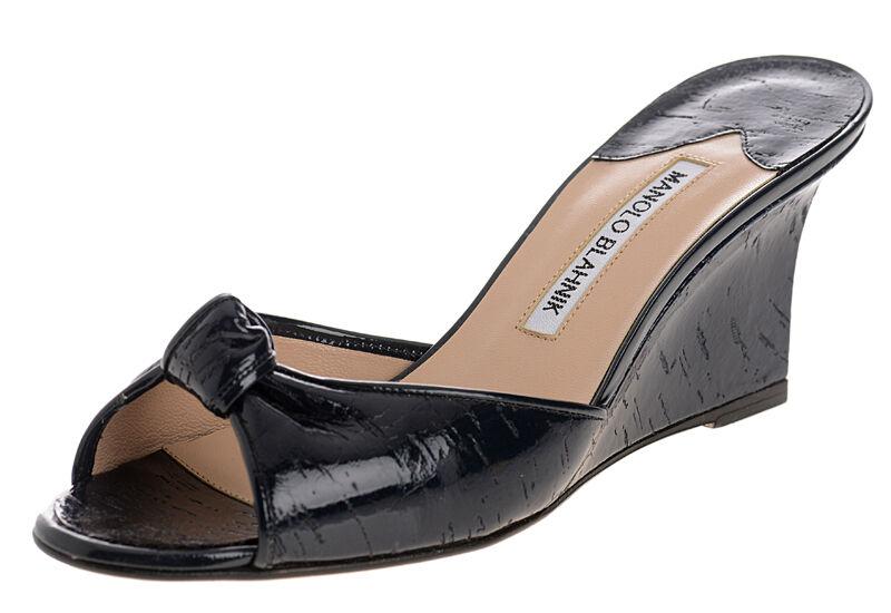 Neu Manolo Blahnik Laros Marineblau Kork Keilabsatz Sandalen Slide Schuhe 35.5