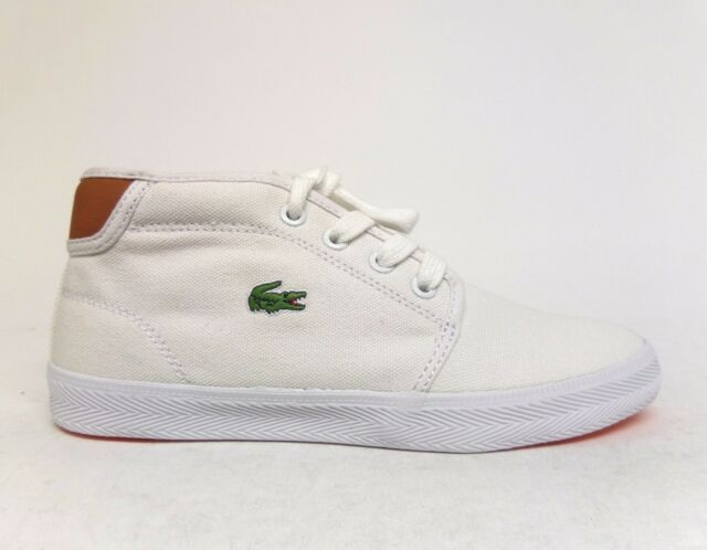 9aa6fb074 LACOSTE Little Kids  AMPTHILL PSA SPC Canvas Mid Shoes White Tan SPC2011291  a2