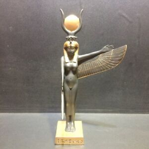 """Ancient Egyptian Standing Goddess Hathor Figurine Gift Collectible 9/"""" Height"""