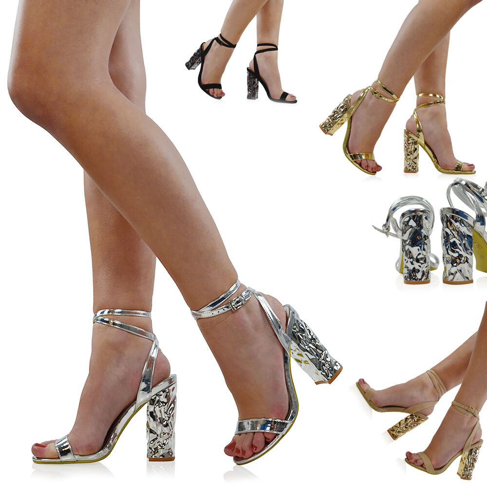 NEW WOMENS ANKLE STRAP CHROME BLOCK HEEL PROM LADIES BARELY THERE PARTY PROM HEEL SANDALS 9d0f49