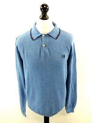Chaps Ralph Lauren Maglione Pullover Da Uomo Polo M Medium Blue Cotone Con Colletto-mostra Il Titolo Originale