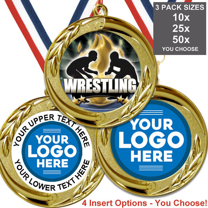 WRESTLING medaglie metallo BIG 70 mm, confezione da 10 nastri nastri nastri inserti proprio logo di testo be396f