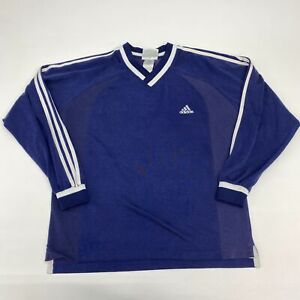 Details about Vintage Adidas T Shirt Men's Small Long Sleeve Navy White 3-Stripes V Neck