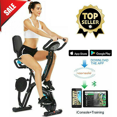 """ANCHEER Indoor Exercise Slim Folding Bike 3-in-1 Home Stationary Magnetic Cycle/"""""""
