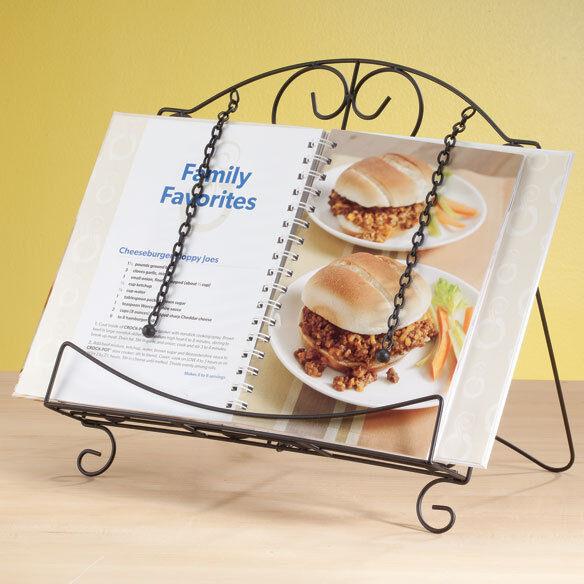 Metal scrollwork kitchen cookbook cook book tablet bible holder stand rack new