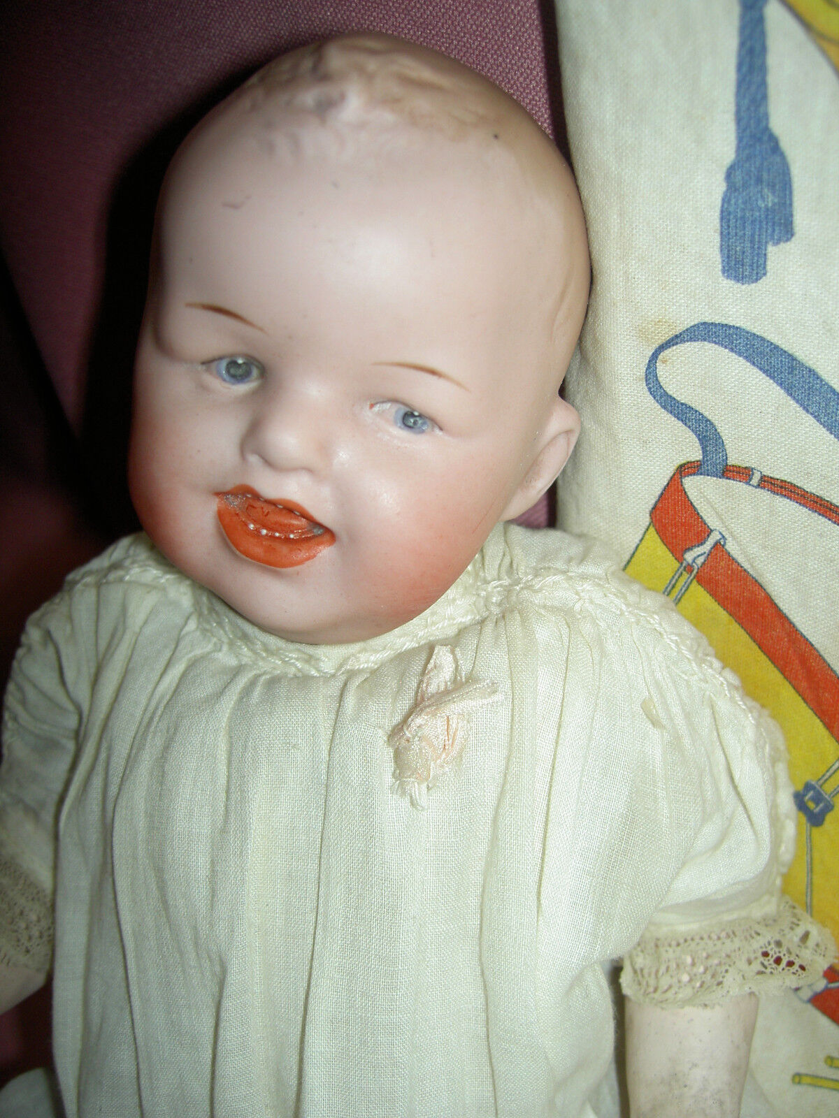 Antique German Gebruder Heubach 8191 bisque head laughing, character baby doll