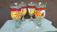 Bella Casa Ganz Hand Painted Stem Glasses Wine Champagne Set 4 Fruits 12 Oz