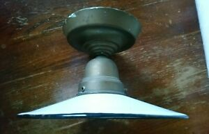 ANTIK Hängelampe Emaille um 1910/20 Deckenlampe Bauhaus  Messing Lampe 10er 20er