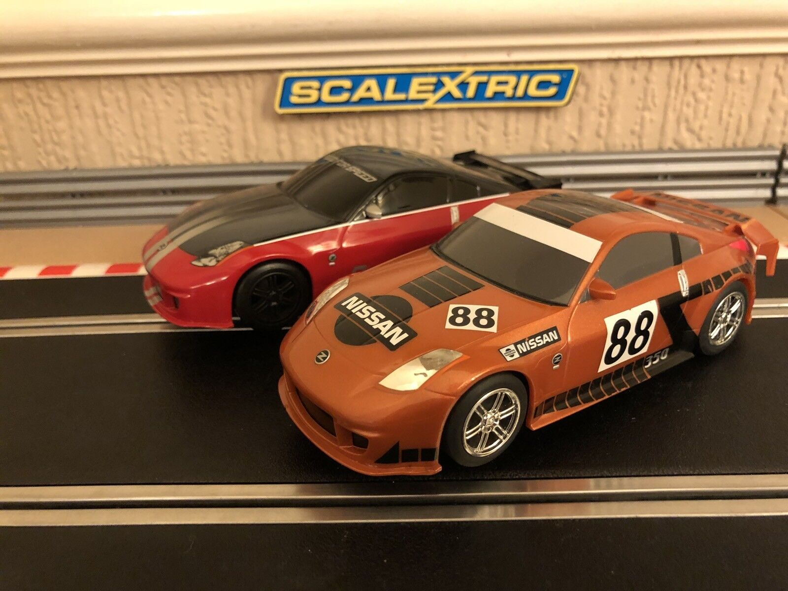 Scalextric x2 Nissan 350Z Fully Serviced & Brand New Braids Fitted