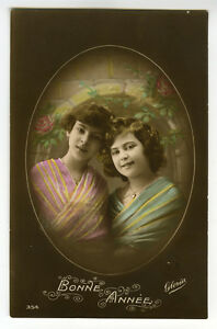 c-1917-Child-Children-YOUNG-GIRL-PAIR-tinted-French-photo-postcard