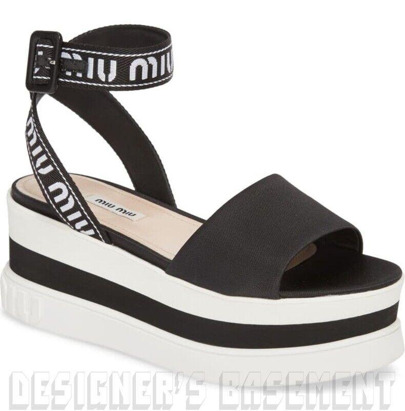 MIU MIU bianco - nero 38 TECH Flatbform LOGO  piattaforma Sandal scarpe NIB Auth  700  autorizzazione