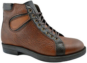 $215 REACTOR Brown Black Calf Leather Ankle Boots Men Shoes