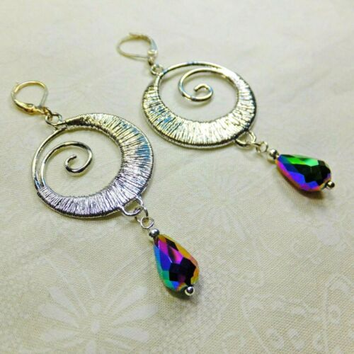 Details about  /Fantasy Silver Plated Wire Spirals Blue//Green Crystal Tears Dangle Earrings NEW