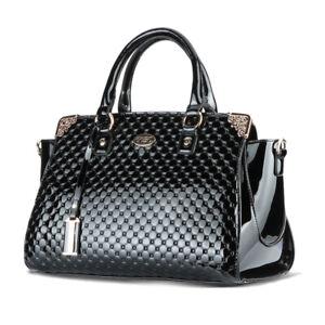 Brand New Women/'s Ladies Faux Leather Patent Tote Shoulder bag Handbag