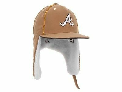 Atlanta Braves MLB Dabu 11 Dogear Ear Flap New Era Wheat Fitted Baseball Hat Cap