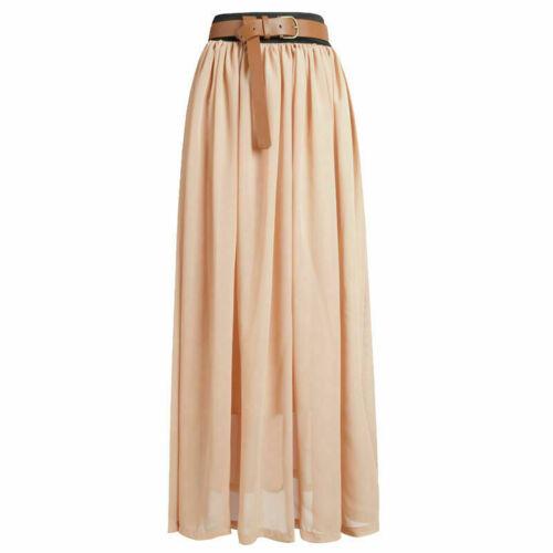 Neuf plus taille femme plain stretch élastique femmes pleine longueur maxi jupe 8-26