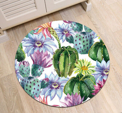 Desert Cactus Circle Velboa Floor Rug Carpet Room Doormat Non-slip Bath Mat 057