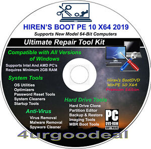Details about Hiren's Boot DVD WinPE 10 X64 2019 Fix Repair BackUp Clone  Windows