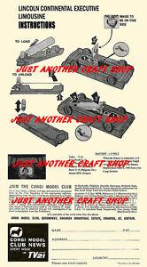 Corgi-Toys-262-LINCOLN-CONTINENTAL-ejecutivo-Limusina-Folleto-de-instrucciones-1967