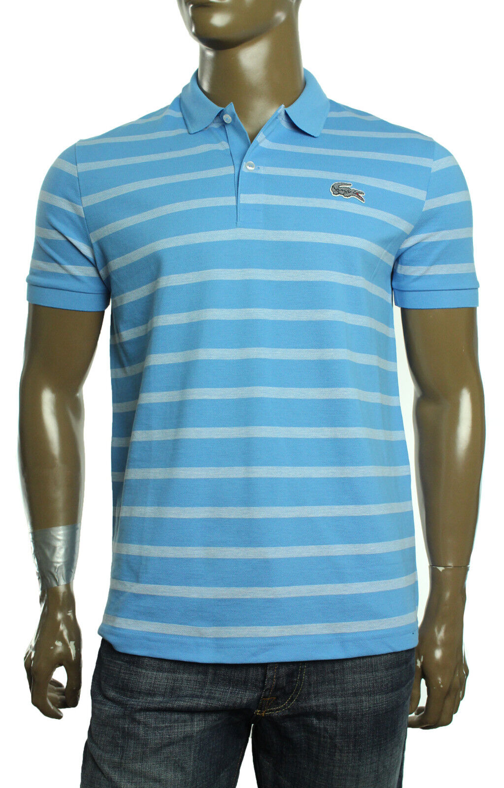 New Mens Lacoste Caviar Croc Regular Fit Spa bluee Stripe  Pique Polo Shirt 5 L