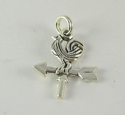 Rooster Weather Vane Charm Pendant .925 Sterling Silver USA Made Barn Antique