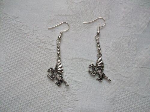 Handmade Sterling Silver Silver Welsh Dragon drip earrings