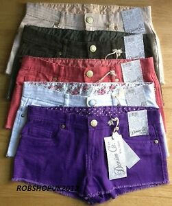 Ladies-Womens-Girls-Ripped-Bottom-Jeans-Denim-Shorts-Hot-Pants