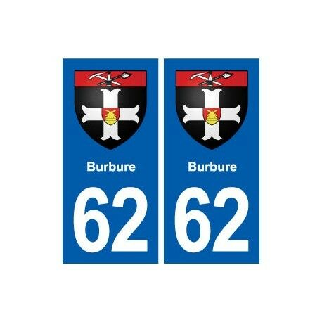 62 Burbure blason autocollant plaque stickers ville -  Angles : droits