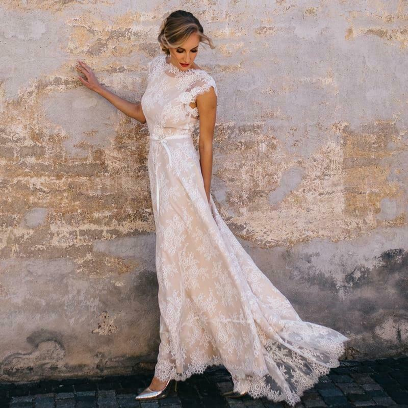Vintage Champagne Lace Bohemian Wedding Dress A Line Cap Sleeve Sexy Backless
