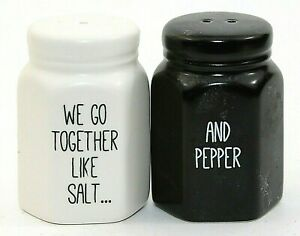 Black-and-White-Matching-Salt-amp-Pepper-Shakers-Ceramic-Stoppers-2-75-034-EUC