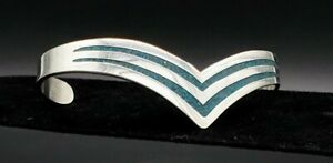 Vintage-Taxco-Cuff-Bracelet-Sterling-Silver-Turquoise-Inlay-Beautiful