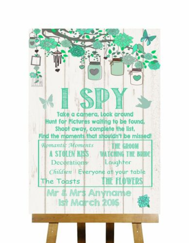 Green Rustic Wood I Spy Disposable Camera Photos Personalised Wedding Sign