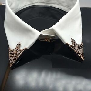 Hot-Spike-Stud-Triangle-Blouse-Shirts-Collar-Clip-Neck-Tip-Brooch-Pin-Chain-Punk