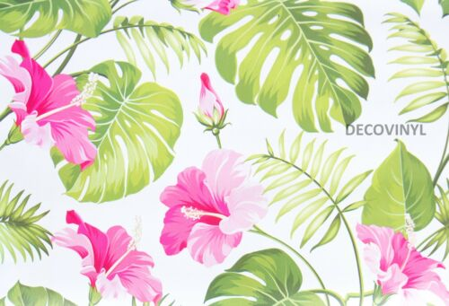 FEATURE WALL STICKY BACK PVC WALLPAPER PLASTIC FABLON TROPICAL FLAMINGO ADHESIVE