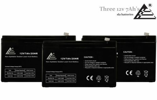 3 Pack - 12V 7AH SLA Sealed Lead Acid Battery for Alarm System and Verizon FIOS