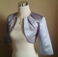 Silver/grey Satin Bolero/shrug/jacket/stole/shawl/wrap 3/4 Pleat Neck Tags